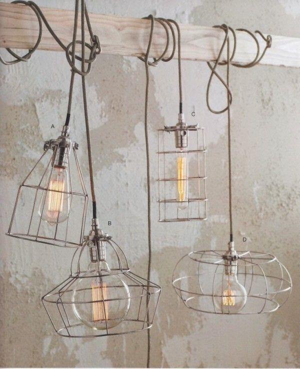 Industriële lampen - industrieel interieur - industriële hanglampen - hanglamp industrieel - draadlampen