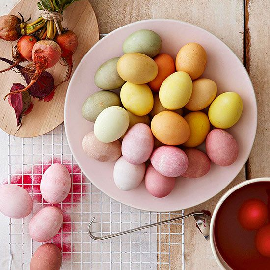 For a fresh take on dying your Easter eggs, go all-natural with paints from food and plants. Just simmer beets, blueberries, or other natural ingredients in a cup of water with a dash of vinegar to create the colors. Leave eggs soaking in the dye in the refrigerator overnight for the richest colors; just a few minutes will work for more subdued variations.