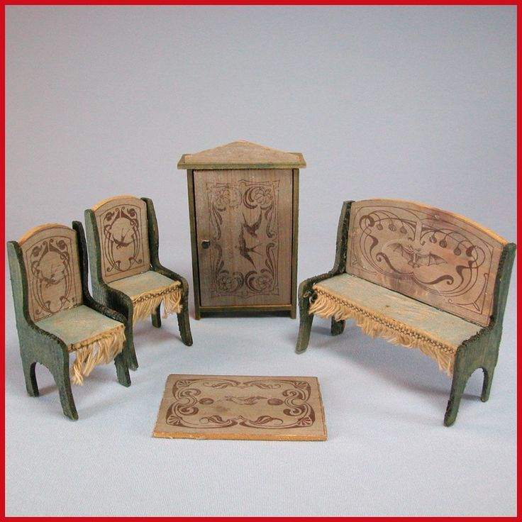 "Antique German Wooden Dollhouse Stenciled Parlor Suite Late 1800s – Early 1900s 1"" Scale"