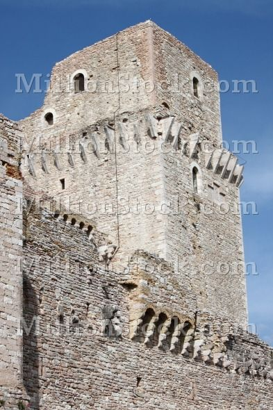 Tower of Major Fortress in Assisi, Italy