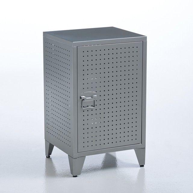 Nachtkastje Locker. Amerikaanse campus stijl, mooi decoratie idee voor een kinderkamer. Eigenschappen :- In metaal, afwerking in epoxy.- 1 legplank- Omkeerbare deurAfmetingen : - B36 x H59 x D33 cm.
