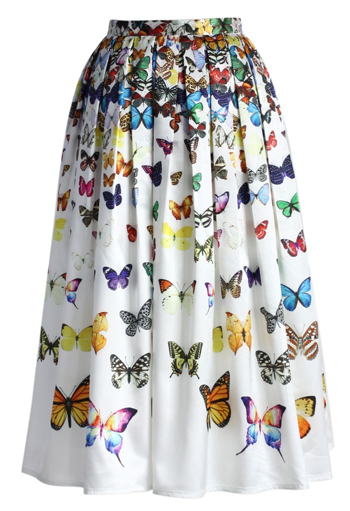 Dreamy Butterfly Pleated Midi Skirt in White - New Arrivals - Retro, Indie and Unique Fashion