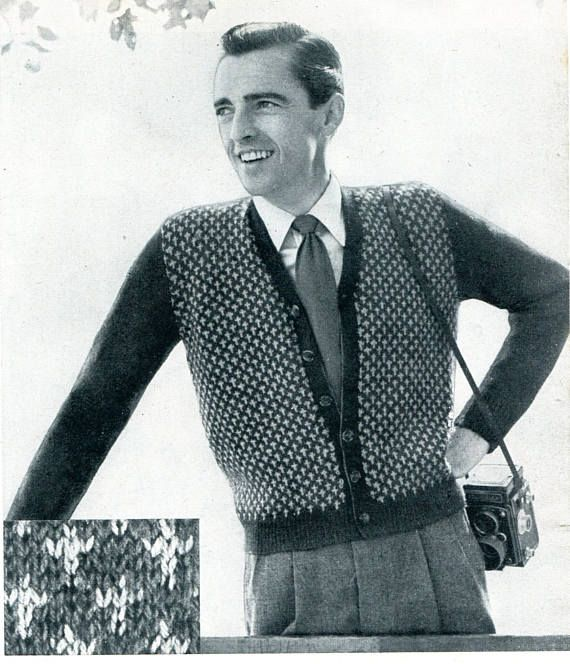 1950's Men's Cardigan Sweater Knitting Pattern PDF