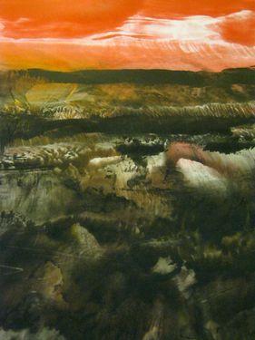 "Saatchi Online Artist Masri Hayssam; Painting, ""Landscape series- Red Sky -SOLD- - "" #art"