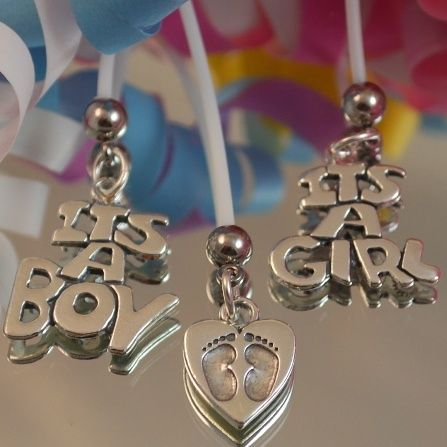 Sterling Silver Maternity Charm flexible belly button rings for pregnancy - too cute!