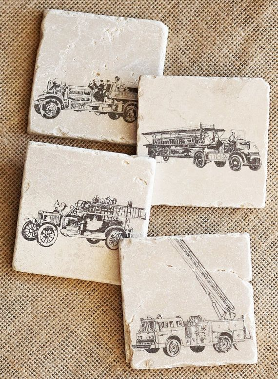 Fireman Decor Stone Tile Coasters, Fire Engine Coaster Set. These Vintage Firetruck coasters are a great way to honor the servicemen who risk their