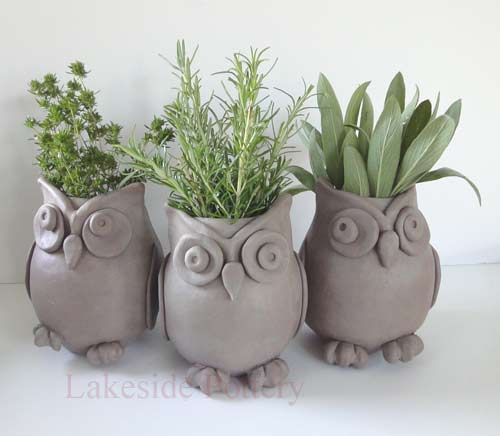 Cute Owl Planters :-) http://www.lakesidepottery.com/Media/JPG_Images/handbuilding-projects-ideas/owl-herb-clay-pots.jpg