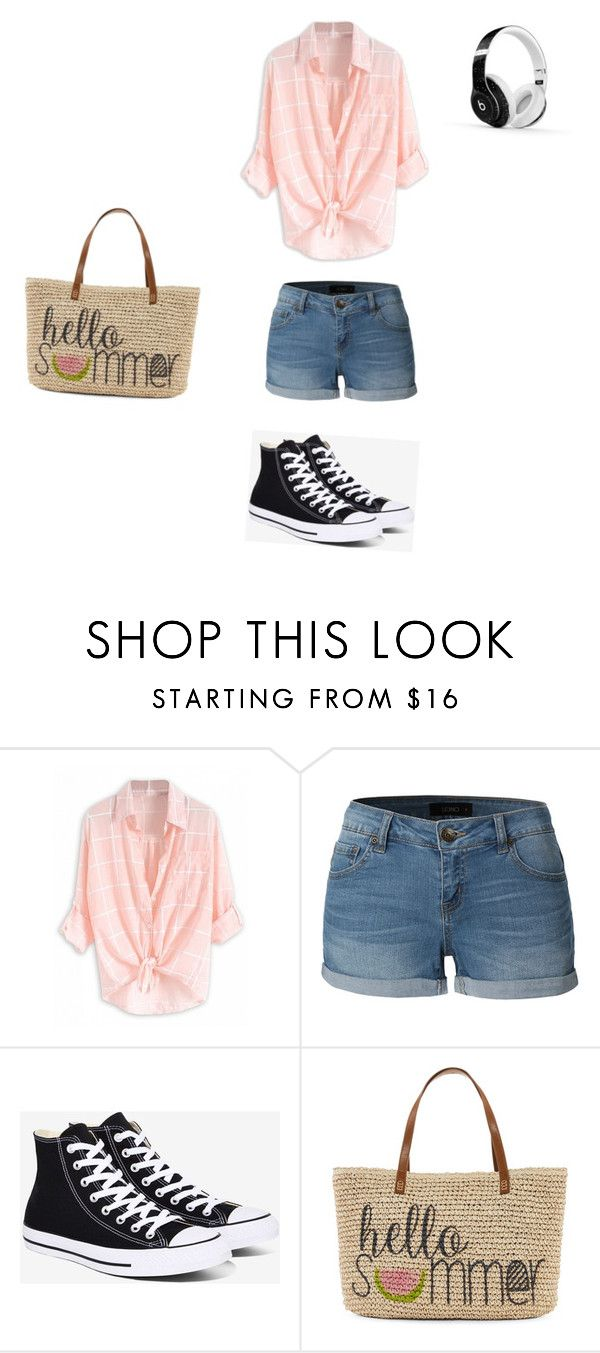 """""""Beach vibes ❤️"""" by chloejmo ❤ liked on Polyvore featuring LE3NO, Converse, Straw Studios and Beats by Dr. Dre"""