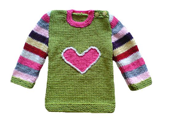 Handmade hand knitted colorful sweater jumper for by woolopia, $27.00