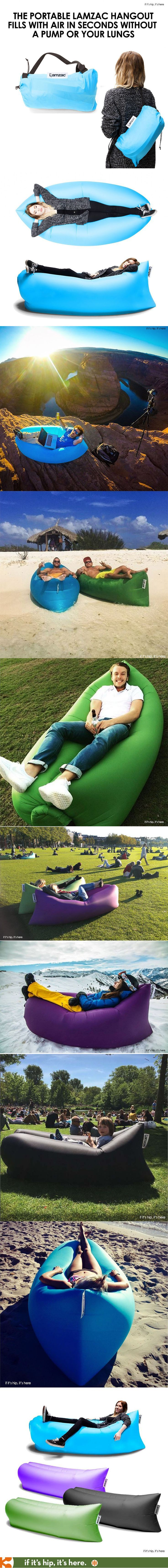 The portable Lamzac hangout, made of ripstop nylon, inflates in seconds without a pump or your lungs. - if it's hip, it's here