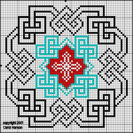 Cross-stitch 16th Century Samplers: Knotwork ... no color chart available, just use the pattern chart as your color guide.. or choose your own colors...