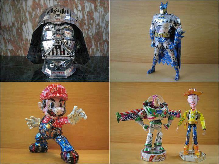 Personagens feitos com latinhas criados pelo artista japonês Makaon.