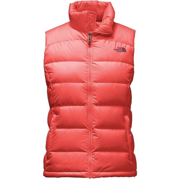 The North Face Women's Nuptse 2 Vest ($149) ❤ liked on Polyvore featuring outerwear, vests, spiced coral, insulated vest, pocket vest, cinch vest, red waistcoat and zipper vest