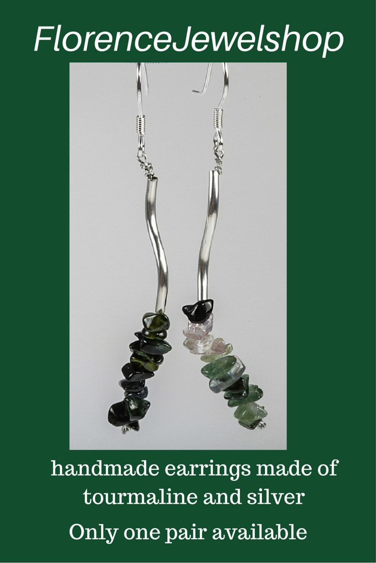 These green handmade dangle beaded earrings are made of tourmaline and silver. The part that sticks in your ear is made of 925 silver. � 25. Learn more: https://www.etsy.com/listing/234910633/green-tourmaline-earrings-handmade?ref=shop_home_active_8