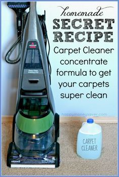 Homemade Carpet Cleaning Solution for Machines 2 Tablespoons Liquid Tide Laundry Detergent 1/4 cup Awesome cleaner (dollar store brand) 1 scoop Oxyclean (I used generic dollar store brand) 1 teaspoon Downy Fabric Softener (optional) Hot Water, one gallon