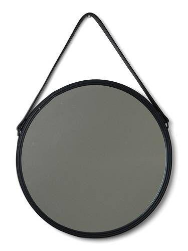 Lustro ścienne, okrągłe w stylu skandynawskim. W metalowej, czarnej ramie, ze skórzanym paskiem