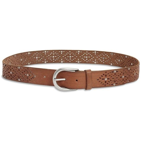 Lucky Brand Studded Cutout Belt ($36) ❤ liked on Polyvore featuring accessories, belts, saddle brown, real leather belt, studded belt, 100 leather belt, genuine leather belt and lucky brand belts
