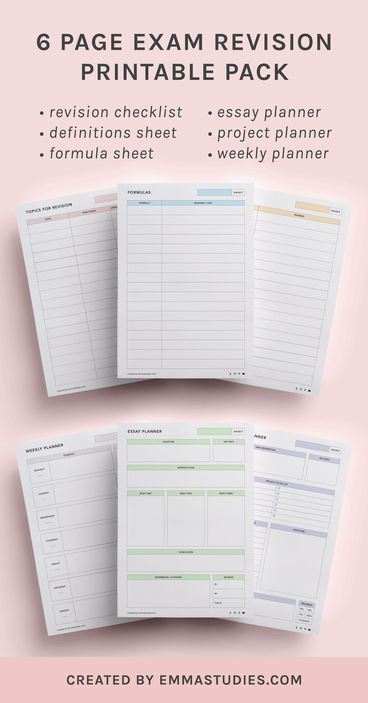 Exam revision printable packExams are one of the toughest parts of life so why not make it just that tiny bit easier with some printables! I picked out some of the things that seem most necessary for...