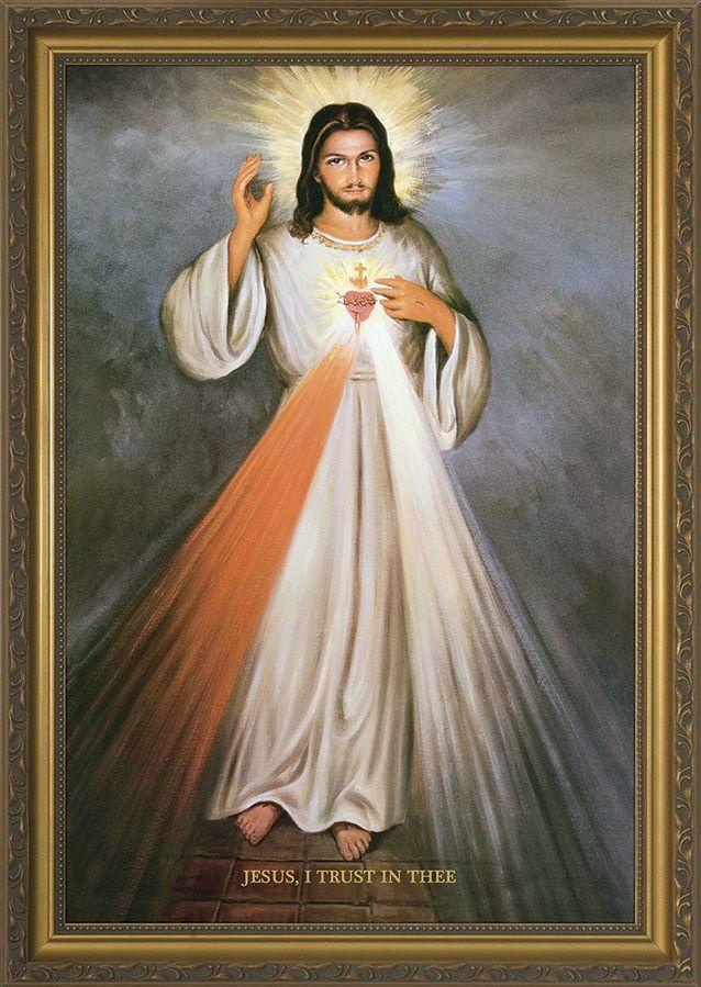 Divine Mercy w/ Sacred Heart in Gold Frame   Best Divine ...