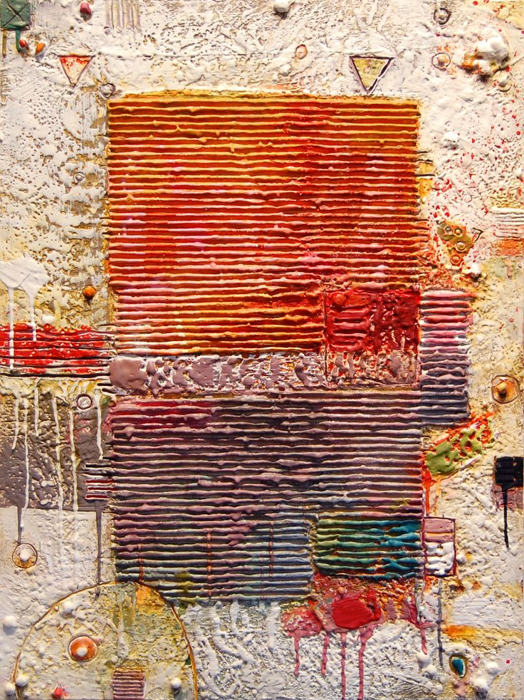 """Carey Corea, """"Lead Into Gold"""", Encaustic on Cradled Panel 18x24. Photographed under exhibition lighting."""