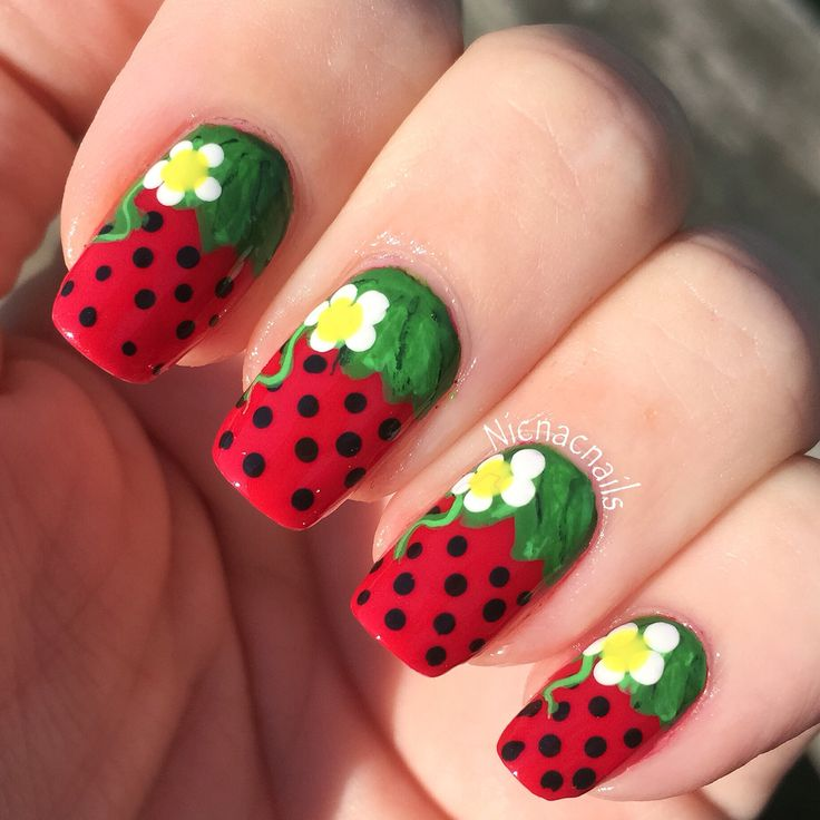 The 25 best strawberry nail art ideas on pinterest quirky diy strawberry nails nicnacnails prinsesfo Images
