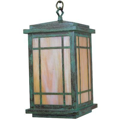 "Arroyo Craftsman Avenue 1-Light Outdoor Hanging Lantern Size: 11.5"" H x 6"" W, Finish: Satin Black, Shade Type: Frosted"