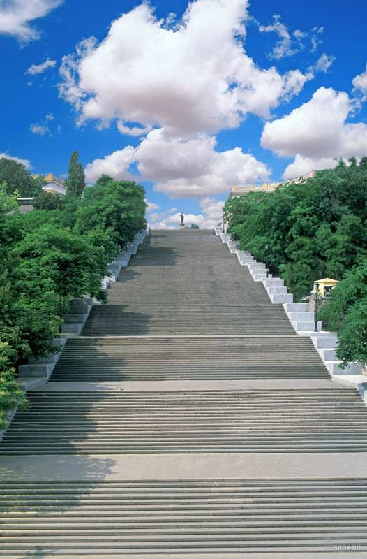 Potemkin Stairs, Odessa, Ukraine: we can race up and down.                                                                                                                                                                                 More