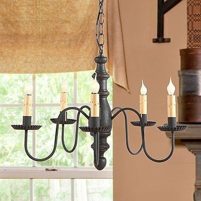 COUNTRY CHANDELIER 5 Candelabra Primitive WOOD METAL Ceiling Light AMERICANA