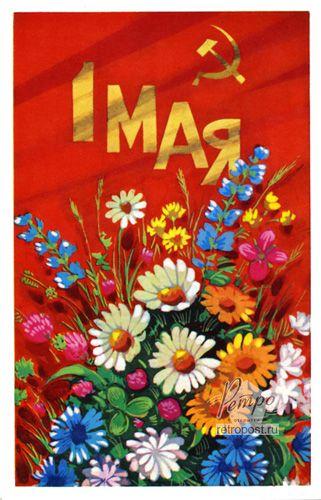 Открытка 1 мая, 1 Мая. Букет полевых цветов, Бойков А., 1973 г.