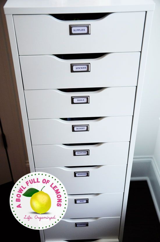 Use a drawer system (like Ikea's ALEX Drawer Unit) to corral all the things that usually create clutter into categories:   1. Supplies (Binder clips, paper clips, push pins, etc) 2. Stickies (sticky notes, tabs, stickers, etc) 3. Tools (straight cutter, staple, staple remover, hole puncher) 4. Budget (check book, calculator, cash envelope system) 5. Supplies (white out, tape, command hooks, etc) 6. Markers 7. Mail (envelopes, stamps, address labels) 8. Labelers (and label tape) 9. Crafts