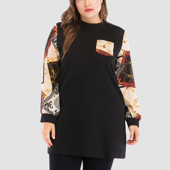 Plus-size fashion long sleeve print splicing T-shirt
