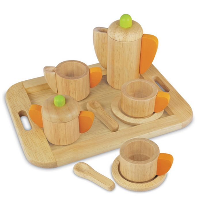 Artiwood Tea Set - $40 Features a tray, tea pot, milk jug, sugar bowl, teaspoons and two tea cups with saucers  3yrs + The Artiwood range of toys is produced from sustainable rubber wood, finished with non toxic child safe paints and comes in recycled packaging