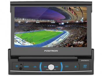 "DVD Automotivo Pósitron SP6720 Retrátil Tela 7"" - Bluetooth USB TV Digital e Entrada Auxiliar"