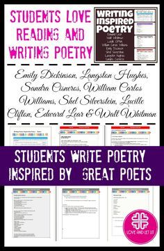 Looking for poetry lessons? Students write their own poetry based on the works of Emily Dickinson, Langston Hughes, Sandra Cisneros, William Carlos Williams, Shel Silverstein, Lucille Clifton, Edward Lear and Walt Whitman. Perfect for the middle and high school English Language Arts classroom.