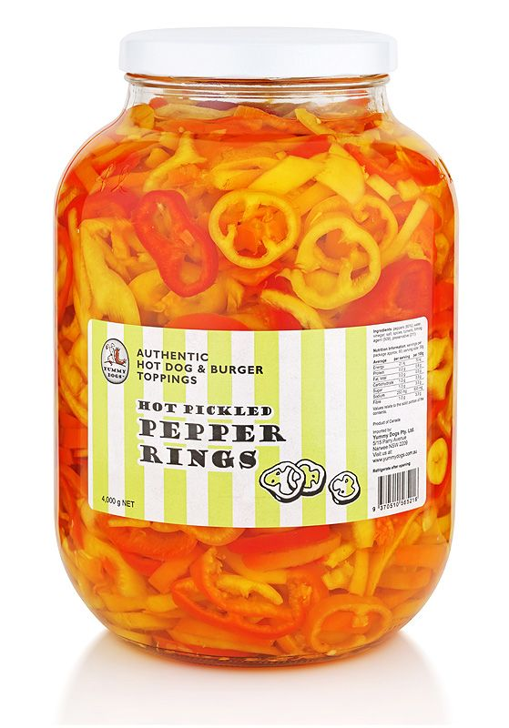 If your customers can take the heat, there's nothing better than our hot pickled pepper rings to add pizzazz to your menu. An extremely versatile product, these pepper treats are highly effective in zinging up a range of popular foods. If fast food is your business, you'll love their simplicity