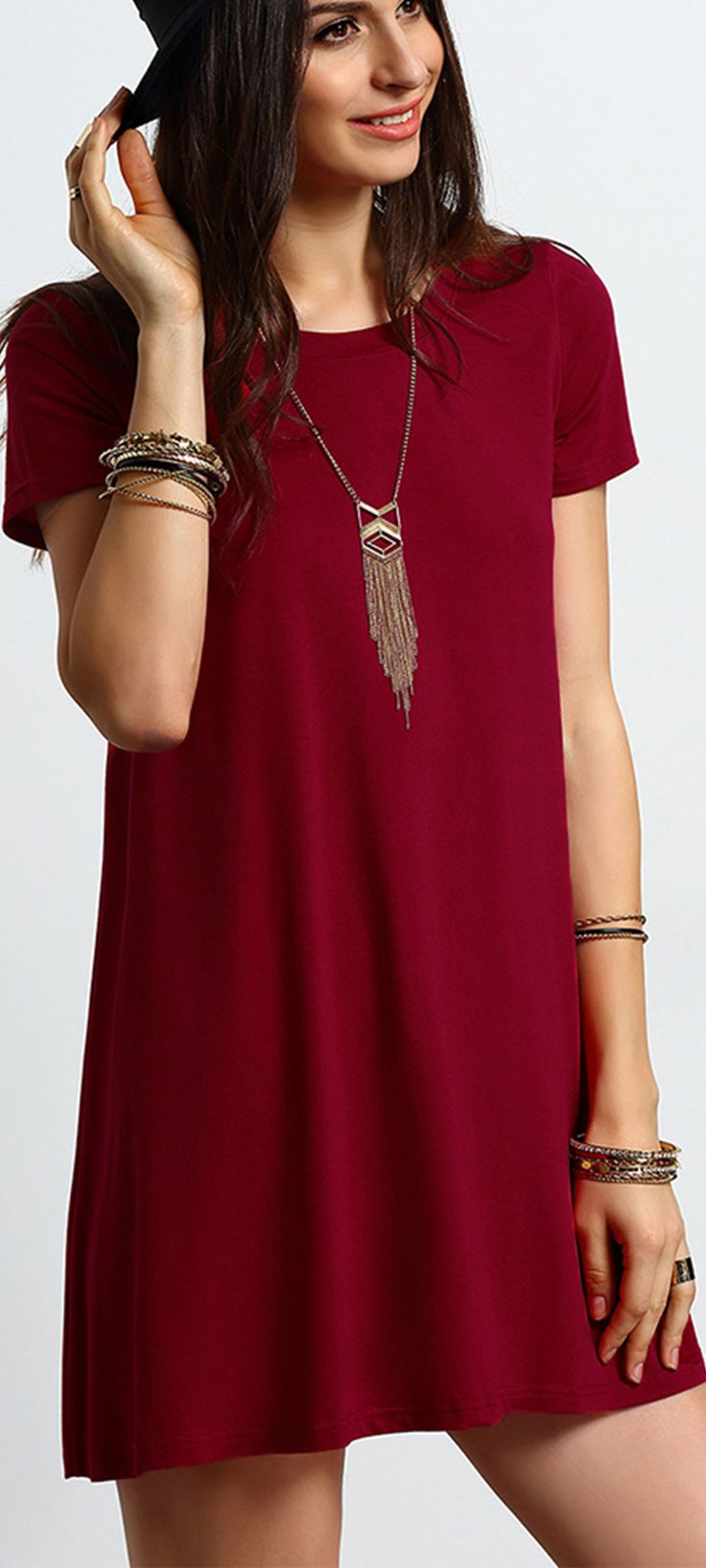SheIn offers Burgundy Short Sleeve Casual Shift Dress & more to fit your  fashionable needs.