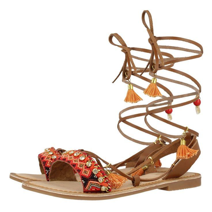 Orange leather sandals for woman IOANA
