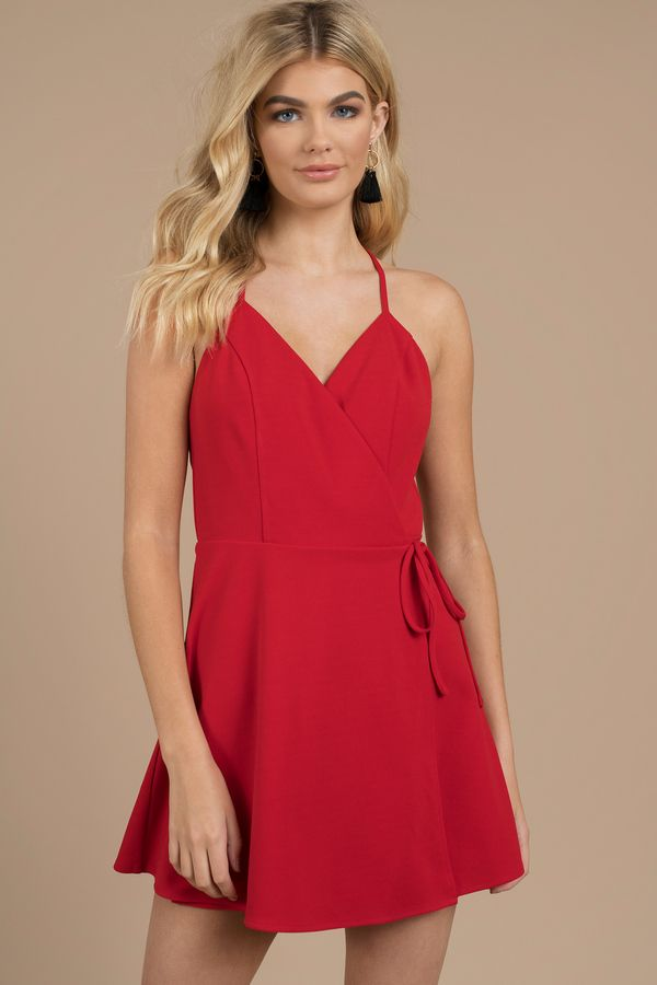 ff60035b442f Yasmine Red Wrap Skater Dress
