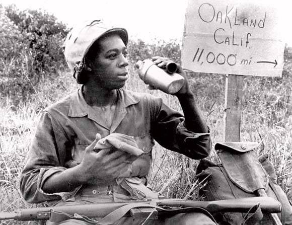 Pfc. Clairborne L. Shaw of Oakland at Chu Lai Vietnam on June 4, 1966. Oakland Tribune archives.