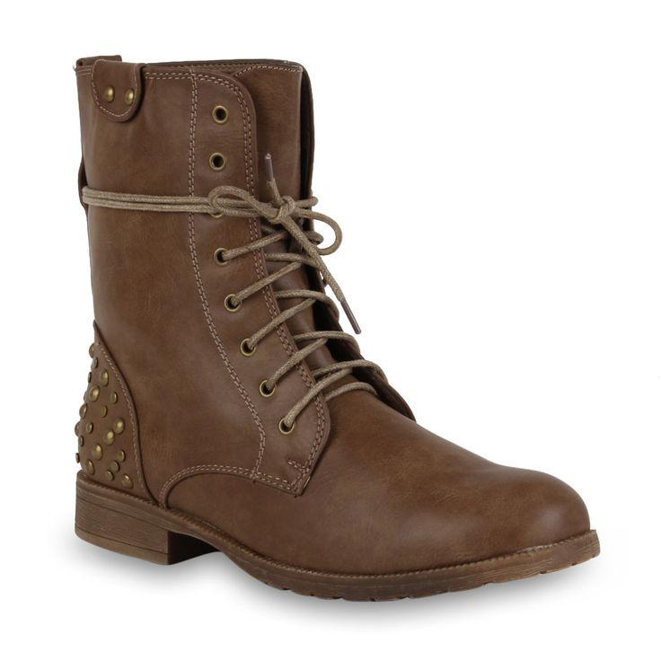 Biker Boots Damen Stiefeletten 97959 Nieten Schnürer Schuhe 36-42 Neu 2013 | eBay 25