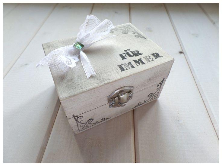 Ringkissen - Ringschatulle Holz weiß Retro Für Immer  - ein Designerstück von Loveli-Hochzeitsplanung bei DaWanda