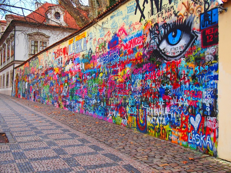 John Lennon Wall, Prague, Czech Republic. Once a normal wall, since the 1980s it has been filled with John Lennon-inspired graffiti and pieces of lyrics from Beatles' songs.
