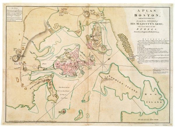 "Richard Williams, ""A Plan of Boston and Its Environs,"" 1775, 45 x 65 cm. (Norman B. Leventhal Map Center)"