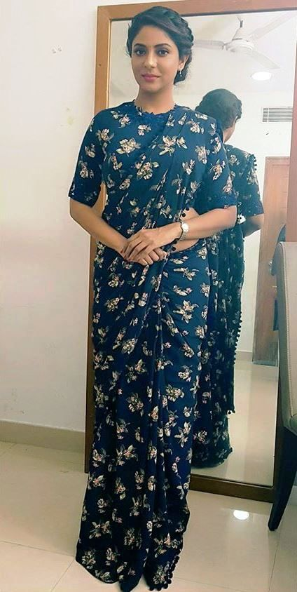 Poornima indrajith in allove printed blue saree. #pranaah