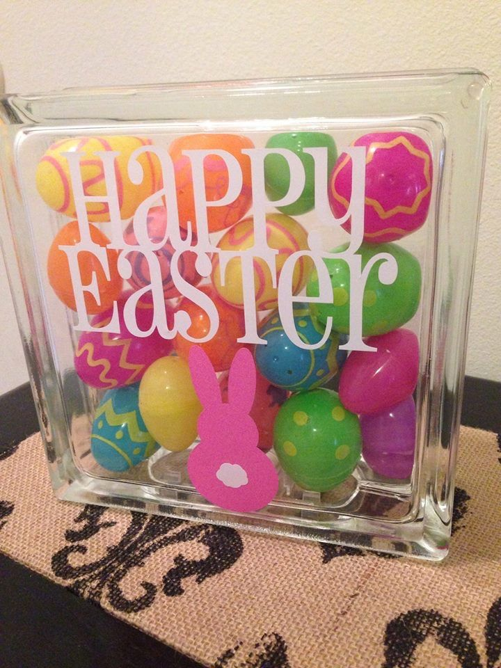 Happy easter glass block Easter eggs bunny home decor https://www.facebook.com/groups/OMJCouture