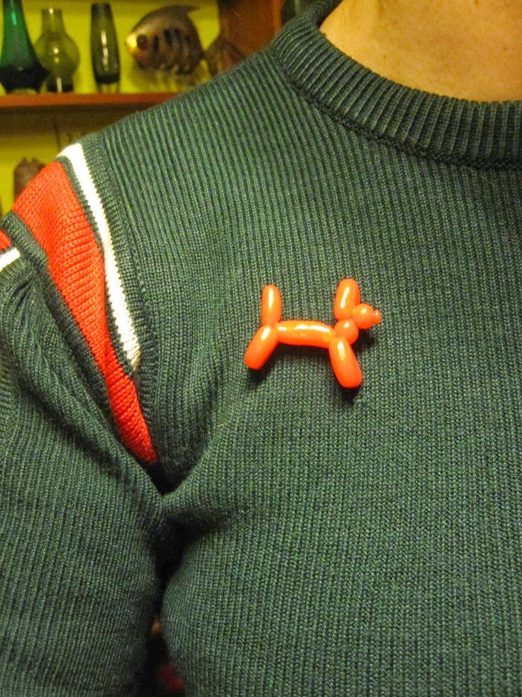 CrazeeGirl 's world !: brooches and badges ! Balloon Dog Brooch , (bought on Etsy)