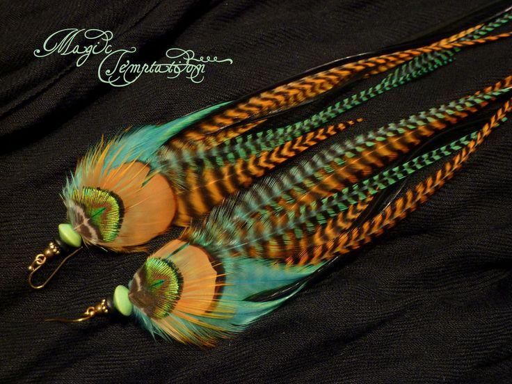 Купить Рыже-бирюзовые серьги из перьев - зеленые серьги, рыжие серьги, бирюзовые серьги, серьги