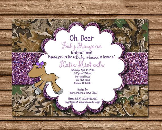 Hunting DIY Printable glitter camo baby shower Invitations, featuring purple or pink glitter, a stuffed doe toy and of course CAMOUFLAGE,