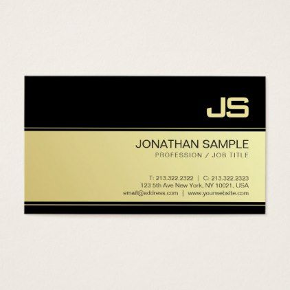 Professional Monogram Gold Look Design Plain Luxe Business Card