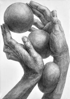 構成デッサン「両手と3個のボール」